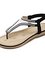 Sandalen-Kleid Lässig-PU-Flacher Absatz-Leuchtende Sohlen-Schwarz Mandelfarben