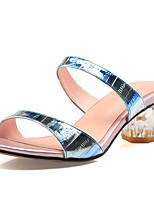 Bureau & Travail Habillé Décontracté-Bleu Or-Gros Talon Talon cristal-club de Chaussures-Sandales-Cuir