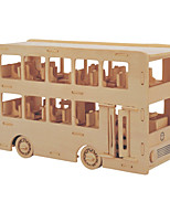 Jigsaw Puzzles DIY KIT Building Blocks 3D Puzzles Educational Wooden Puzzles Building Blocks DIY Toys Bus 1 Wood Beige