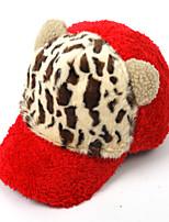 Women Wool Warm Leopard  Printing Cat Ears Rabbit Hair Plush Baseball Cap