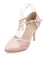 Damen-Sandalen-Hochzeit Büro Party & Festivität-PU-Stöckelabsatz-Komfort Knöchelriemen-Weiß Rosa Mandelfarben