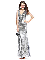 TS Couture Formal Evening Dress - Sparkle & Shine Sheath / Column V-neck Floor-length Sequined with Sequins