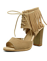 Women's Sandals Spring Summer Fall Gladiator Ankle Strap Club Shoes Fleece Wedding Casual Party & Evening Chunky Heel Lace-upBlack Yellow