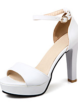 Sandals Summer Club Shoes D'Orsay & Two-Piece Patent Leather Wedding Office & Career Dress Chunky Heel Buckle Hollow-outBlack White