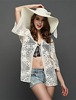 Women's Going out Holiday Sexy Boho Regular Cloak / Capes,Jacquard White Shawl Lapel ½ Length Sleeve Polyester Summer Thin Inelastic