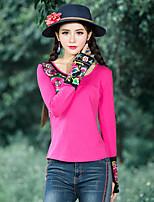Mujer Vintage Boho Tejido Oriental Vacaciones Noche Casual/Diario Primavera Otoño Camiseta,Escote Redondo Un Color Retazos Manga Larga