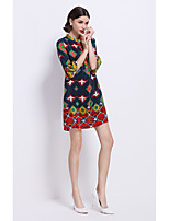 YZXH Women's Going out Beach Holiday Boho A Line DressPrint V Neck Above Knee  Length Sleeve Multi-color Silk Spring Summer Mid Rise