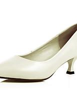 Tacón Stiletto-Zapatos del club-Tacones-Oficina y Trabajo Vestido Fiesta y Noche-Cuero-Negro Beige