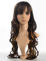 Black Mix Wig Synthetic Fiber Capless Deep Wavy Heat Resistant Costume Wig