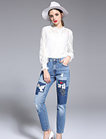 Feminino Solto Jeans Calças,Casual Fofo Cor Única Cintura Alta Zíper Algodão Inelástico Com Molas Verão