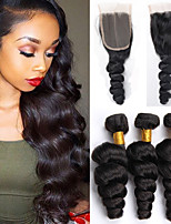 Hair Weft with Closure Brazilian Texture Loose Wave 12 Months 4 Pieces hair weaves