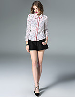 Women's Going out Casual/Daily Simple Spring Shirt,Polka Dot Geometric Patchwork Shirt Collar Long Sleeve Red White Silk Thin
