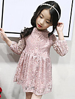 Girl's Solid Dress,Rayon Spring Fall Long Sleeve