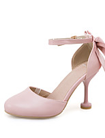 Heels Spring Summer Fall Club Shoes Leatherette Casual Stiletto Heel Bowknot Buckle Pink White Beige
