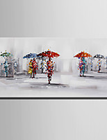 E-HOME Oil painting Modern Pedestrians in The Rain Pure Hand Draw Frameless Decorative Painting