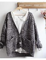 Women's Casual/Daily Simple Regular Cardigan,Solid Turtleneck Long Sleeve Acrylic Spring Fall Medium Micro-elastic