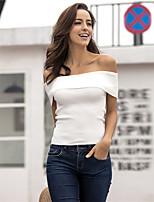 Damen Solide Sexy Einfach Street Schick Lässig/Alltäglich Klub Urlaub T-shirt,Bateau Sommer Herbst Kurzarm Weiß Schwarz Acryl Mittel
