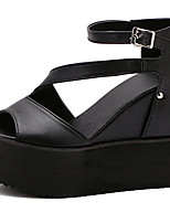 Sandals Summer Gladiator PU Dress Wedge Heel Buckle Black