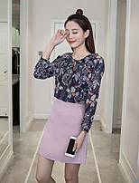 Sign 2017 fresh round neck floral chiffon shirt waist skirt flounced skirts A word skirt