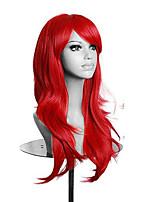 haute qualité femmes rouges longues perruque ondulée perruque lolita cosplay synthétique 5 couleurs