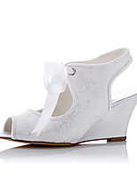 Mariage Habillé Soirée & Evénement-Blanc-Talon Compensé-Confort-Chaussures à Talons-Tulle