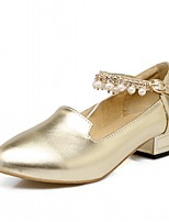 Heels Spring Fall Comfort Leatherette Office & Career Dress Casual Low Heel Imitation Pearl Buckle Pink Gold Sliver