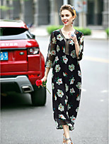 REVIENNE BAY Women's Casual/Daily Cute Loose DressFloral V Neck Midi  Sleeve Black Polyester Spring Summer Mid Rise Inelastic Thin