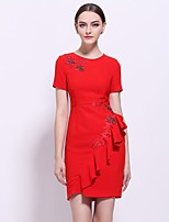 Women's Going out Work Sexy Sophisticated Sheath Dress,Patchwork Embroidered Round Neck Above Knee Short Sleeve Blue Red Polyester Spring