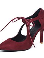 Women's Sandals Spring Summer Fall Fleece Office & Career Dress Casual Stiletto Heel Lace-up Black Red Green Almond