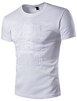 Men's Plus Size Casual/Daily Simple Active Summer T-shirt,Print Round Neck Short Sleeve Cotton Rayon Thin