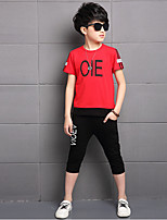 Boys' Casual/Daily Solid Print Sets,Cotton Rayon Summer Short Sleeve Clothing Set
