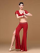 Dança do Ventre Roupa Feminino Roupa de Dança de Senhora Menina Treino Renda Modal Pano Frente Dividida Recortes 2 Peças Manga Curta Caído