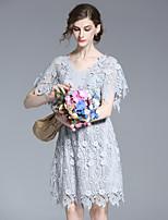 Для женщин На каждый день Простое А-силуэт Платье Однотонный,Круглый вырез Выше колена Рукав ½ Синий Полиэстер Весна ЛетоСо стандартной