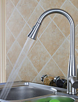Modern Pull-out/Pull-down Centerset Pullout Spray with  Ceramic Valve Single Handle One Hole for  Nickel Brushed , Kitchen faucet