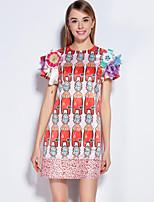 Courte Robe Femme Sortie Mignon,Imprimé Col Arrondi Mi-long Manches Courtes Rose Polyester Spandex Printemps Eté Taille Normale