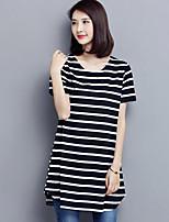 Tee-shirt Femme,Rayé Décontracté / Quotidien Grandes Tailles simple Eté Manches Courtes Col Arrondi Rouge Noir Vert Polyester Moyen