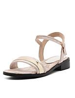 Women's Sandals Spring Summer Leatherette Casual Flat Heel Black Beige Green Burgundy