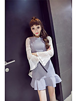 Spot real shot new fall openwork lace trumpet sleeve shirt + vest two-piece dress with belt