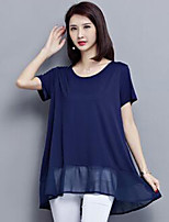 Women's Plus Size Casual/Daily Simple Summer T-shirt,Solid Round Neck Short Sleeve Blue Red Black Polyester Medium