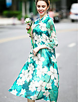 REVIENNE BAY Women's Going out Chinoiserie A Line DressFloral Stand Knee-length  Sleeve Red Green Silk Spring Summer Mid Rise Micro-elastic Medium