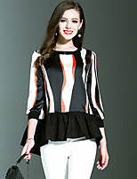 NEDO Women's Going out Casual/Daily Holiday Simple Street chic Spring T-shirtStriped Round Neck  Sleeve Red Beige Cotton Polyester Thin