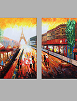 Hand-Painted Abstract Paris Street Landscape  Modern Two Panels Canvas Oil Painting For Home Decoration