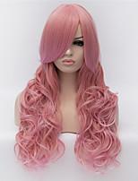 perruques de cosplay rose couleur perruques perruque en Europe et Amérique mode des points partiels gradient long cheveux bouclés 24