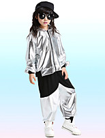 Jazz Outfits For Boys/Girls Kid's Children's Performance Polyester Sequins 2 Pieces Long Sleeve High Top Pants Gold/Silver