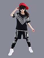 Jazz Outfits For Boys/Girls Kid's Children's Performance Polyester Print Sequins 2 Pieces Short Sleeve Top Pants Black