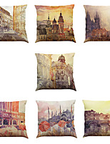 Set of 7 European architectural oil painting pattern Linen  Cushion Cover Home Office Sofa Square  Pillow Case Decorative Cushion Covers Pillowcases
