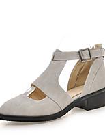 Women's Sandals Summer Gladiator Leatherette Casual Dress Low Heel Buckle Black Gray Yellow