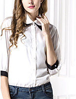Women's Going out Beach Party/Cocktail Sexy Cute Spring Summer Shirt,Solid Shirt Collar Long Sleeve White Polyester Thin