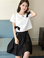 Sign 2016 summer new wild Slim black short-sleeved A-line dress sheds