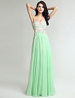 Вечернее платье из шифона и колонки с вышивкой